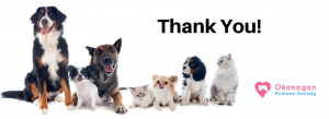 Thank You Okanagan Humane Society dogs and cat